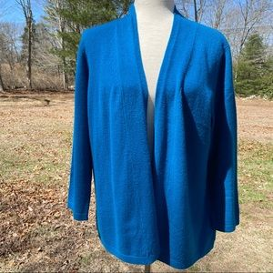 CHARTER CLUB SWEATER CARDIGAN CASHMERE 2PLY TEAL L